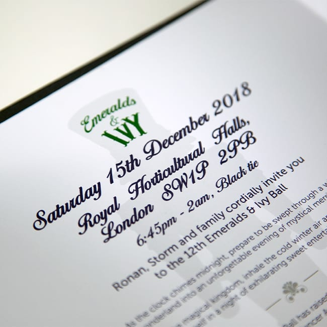 Cancer Research UK Emeralds & Ivy Ball invite